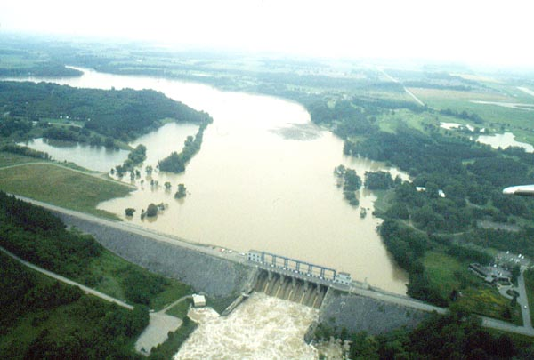 Aerial view of Fanshawe Reservoir in July 2000 flood