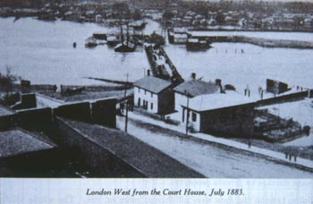 Photo of West London during the July 1883 flood, taken from the old Court House at the Forks