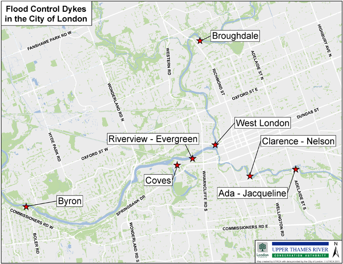 Map of flood control dykes in the City of London