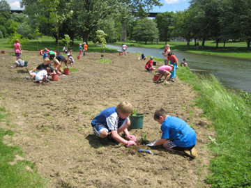 Trout Creek planting site - 122 large stock trees, 2800 wildflowers, 100 students