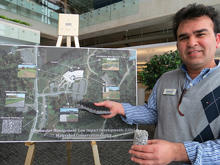 Imtiaz Shah, UTRCA Environmental Engineer, explains some of the WCC's LID features